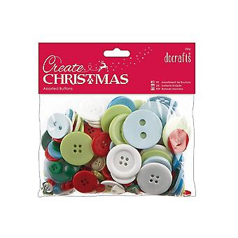 250g Assorted Buttons Pack for Crafts - Traditional Christmas