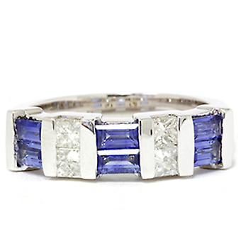 1 1/2 قيراط الأميرة قطع الماس & خاتم الذهب الأبيض الياقوت الأزرق ك 14