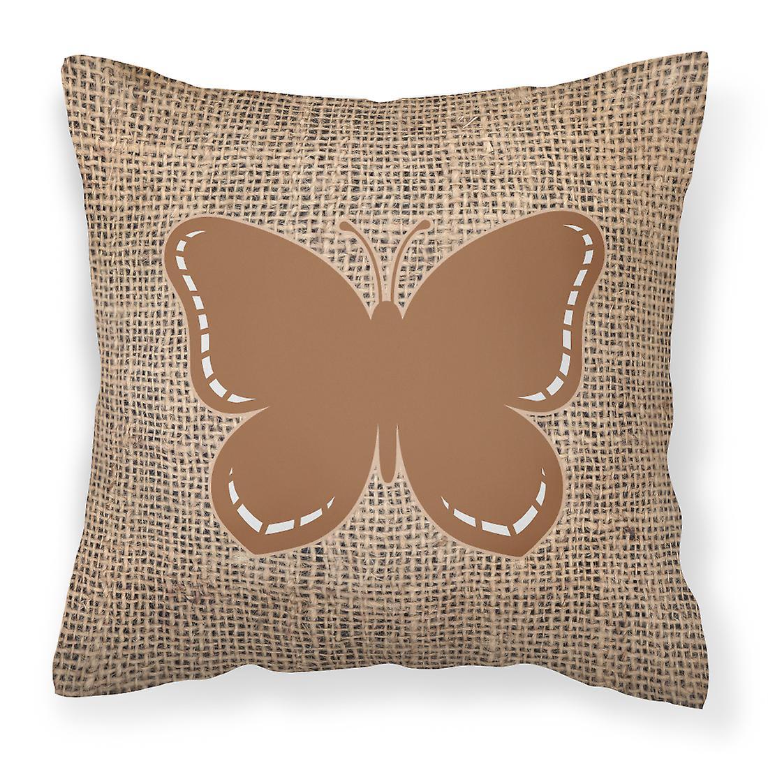 De Et Bb1035 Papillon Tissu Toile Oreiller Jute Décoratif Brune BedoQWxrC