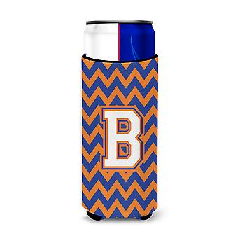 Letter B Chevron Blue and Orange Ultra Beverage Insulators for slim cans