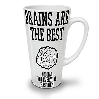 Best Brains Sarcasm Funny NEW White Tea Coffee Ceramic Latte Mug 17 oz | Wellcoda