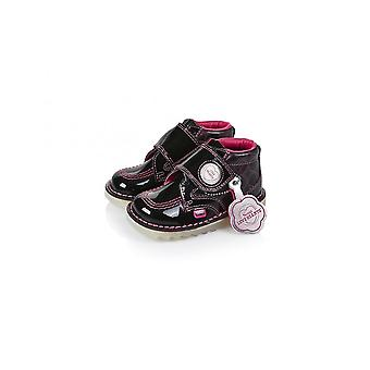 Kickers Girls Kickers Black Patent Leather Love Heart Boots | Kickers Kick Hi