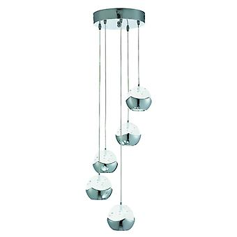 Iceball Chrome 5 Light Led Pendant - Searchlight 7355-5cc