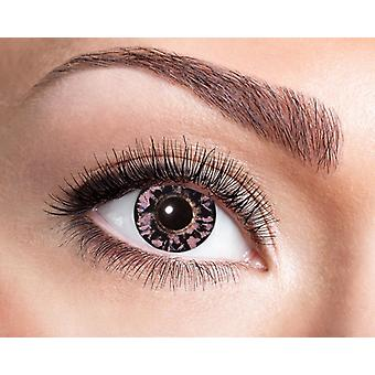 Natural contact lens black pink feathery pattern.