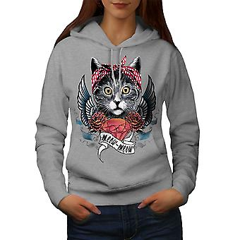 Cute Heart Wings Meow Cat Women GreyHoodie | Wellcoda