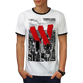 City View Men White / BlackRinger T-shirt | Wellcoda