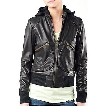 Ladies Sexy Bomber Leather Jacket With Hoody
