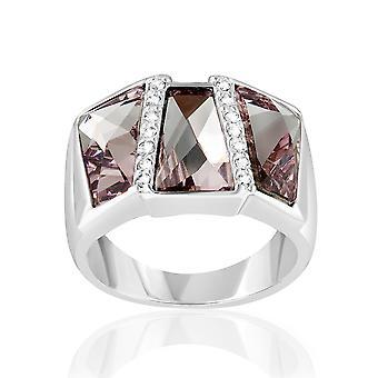 Rectangle ring adorned with Swarovski Rose crystals