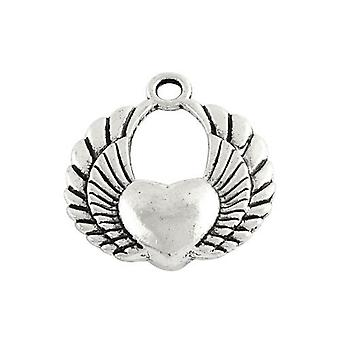 Packet 5 x Antique Silver Tibetan 25mm Heart Charm/Pendant ZX11020