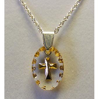 Hand Painted Mini Oval Cross Crystal Pendant