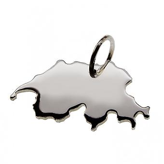Trailer map Switzerland pendant in solid 925 Silver