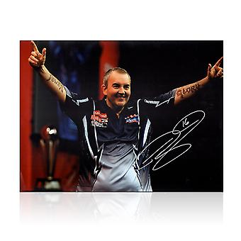 Phil Taylor Signed Darts Photo: Power And Glory