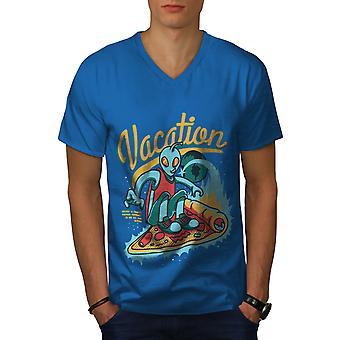 Urlaub Royal BlueV-Neck T-shirts Herren   Wellcoda