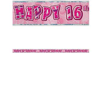 Birthday Glitz Pink 16thBirthday Prism Banner