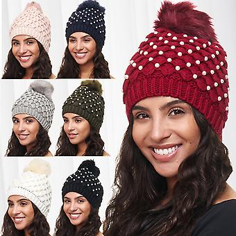 Ladies Beanie Hat Knitted Winter cozy warm ears cap