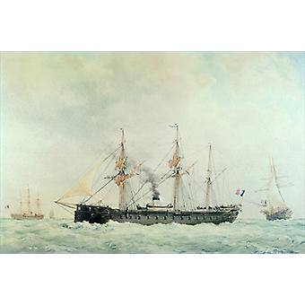 The French Battleship, 'La Gloire', 1880.. - Art Print