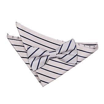 Argento & blu marino singola striscia Bow Tie & Set Square Pocket