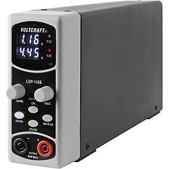 VOLTCRAFT LSP-1165 benk PSU (justerbar spenning) 0.1 - 36 Vdc 0,01 - 5 A 80 W slank type. av utganger 1 x