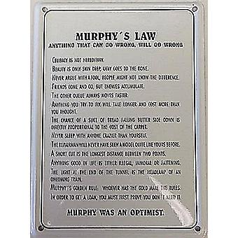Murphy'S Law metall postkort / Mini Logg