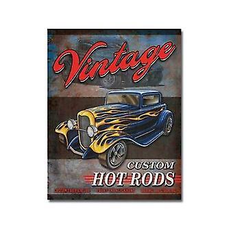 Vintage Custom Hot Rods Metal Sign