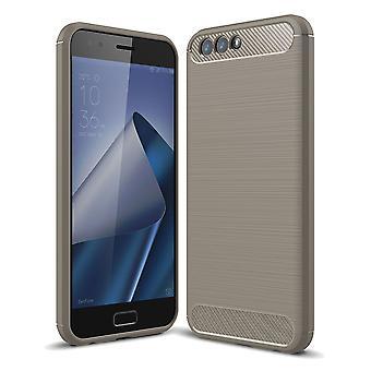 ASUS Zenfone 4 ZE554KL TPU case carbone fibre optique brossé gris housse de protection