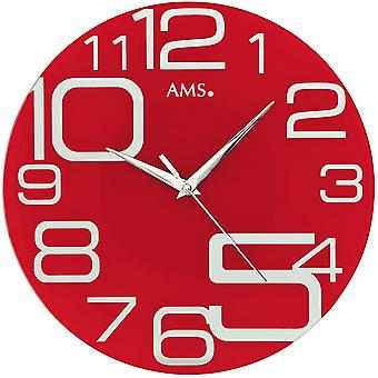 Red wall clock, modern wall clock quartz creeping second mineral glass red printed