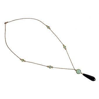 Драгоценный камень цепи позолоченные ожерелье черный оникс и халцедона драгоценных камней