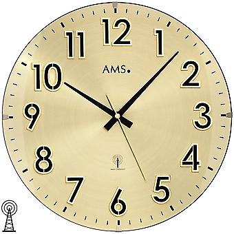 AMS 5974 wall clock radio radio controlled wall clock analog brass colors golden with glass