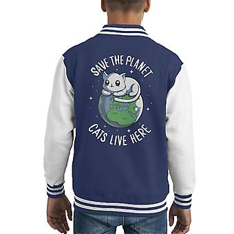 Save The Planet Cats Live Here Kid's Varsity Jacket