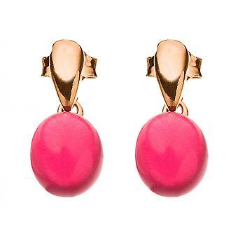GEMSHINE damer örhängen 925 Silver, guld eller rött fuchsia rose quartz ädelsten örhängen - hållbar kvalitet smycken tillverkade i Spanien