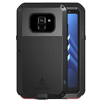 Love Mei powerful hybrid shockproof case Galaxy A8, screen protector - Black