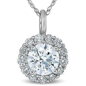1 Ct Halo Round Diamond Pendant 14k White Gold 18