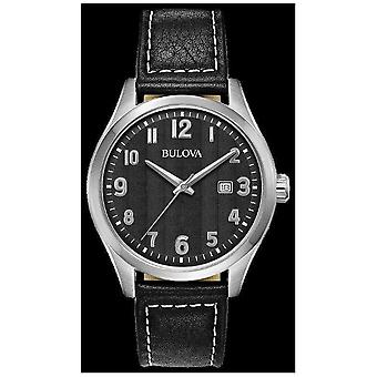 Bulova Mens Black Dial black leather strap 96B299 Watch