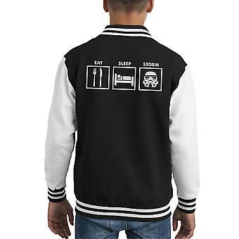 Original Stormtrooper Eat Sleep Storm Kid's Varsity Jacket