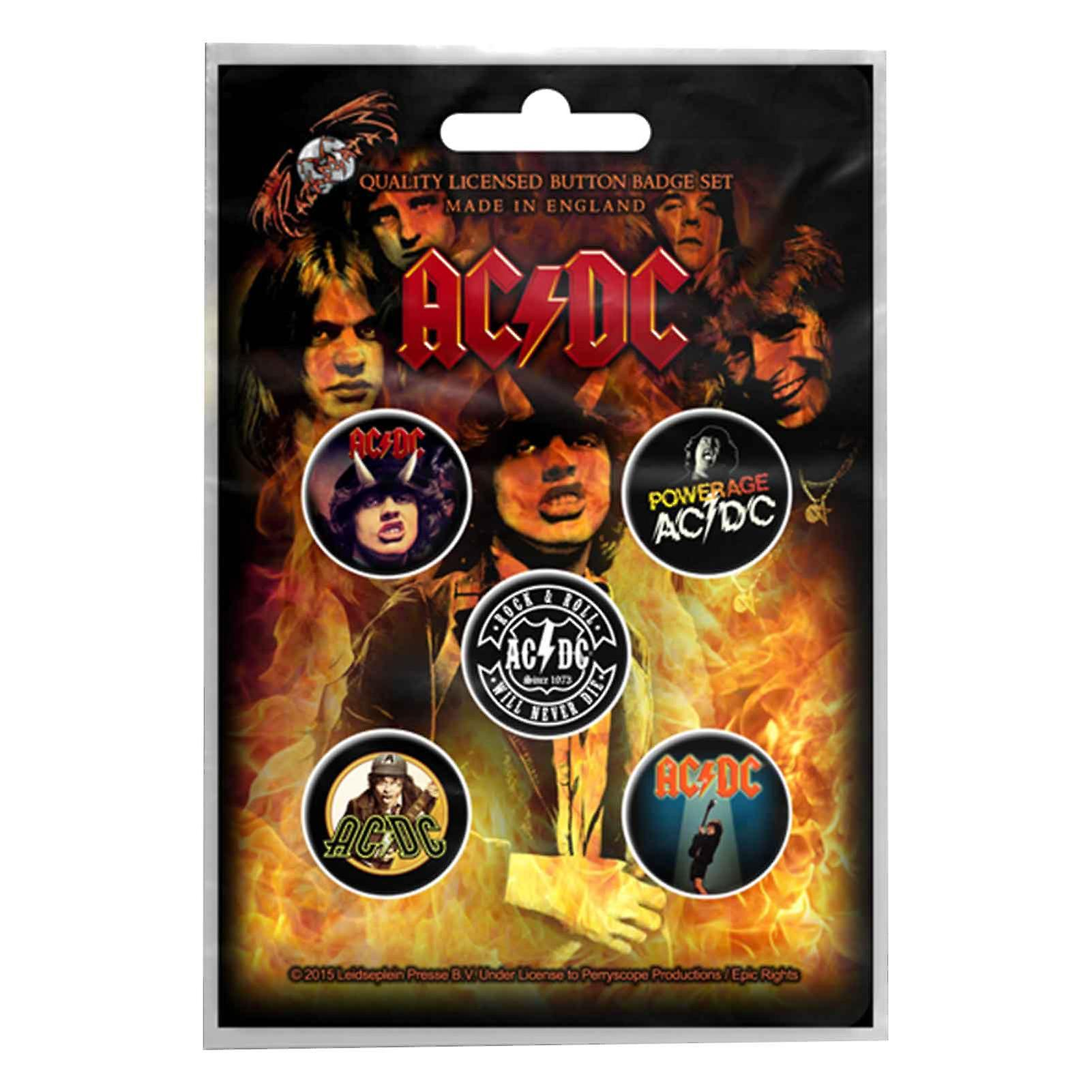AC/DC badge pack albums powerage band logo new Official 5 x Pin Button