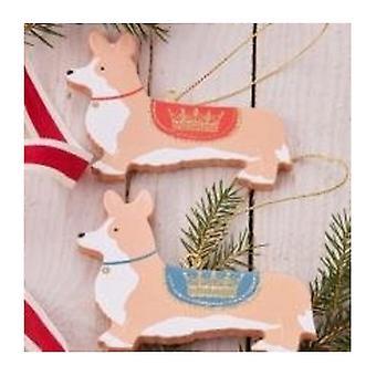 Gisela Graham Set of 2 Corgi Christmas Decorations