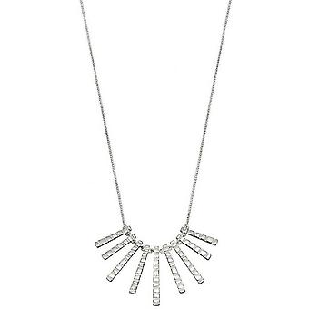 Elements Silver Frosted Finish Bar Drop Necklace - Silver