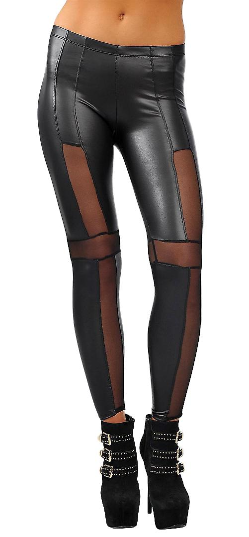 Waooh - Fashion - Legging in imitation leather and mesh inserts