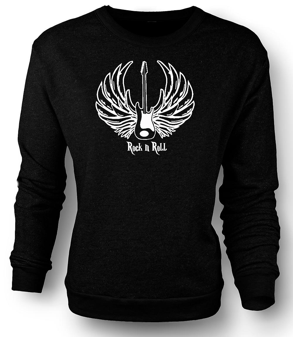 Mens Sweatshirt Rock n Roll - Guitar Wings - Music