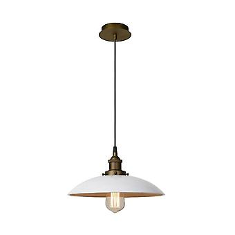 Lucide Bistro Vintage Round Metal White And Brass Pendant Light