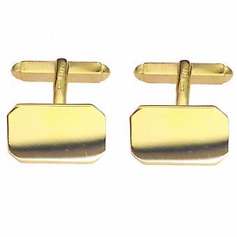 9 ct ゴールド 18x12mm カット角プレーン回転カフス