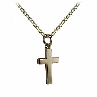 9ct Gold 17x10mm plain solid block Cross with belcher Chain 24 inches