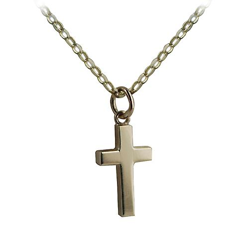 9ct Gold 17x10mm plain solid block Cross with belcher Chain 16 inches Only Suitable for Children