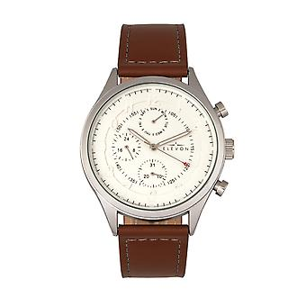 Elevon Lindbergh Leather-Band Watch w/Day/Date -Brown/White