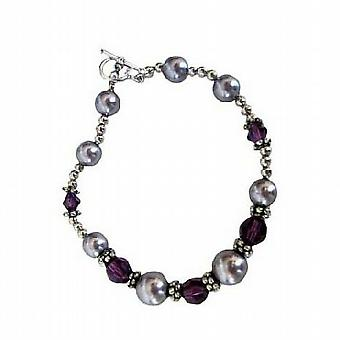 Bali Silver armband med Swarovski pärlor   kristaller 7 inches armband fd345107b71f2