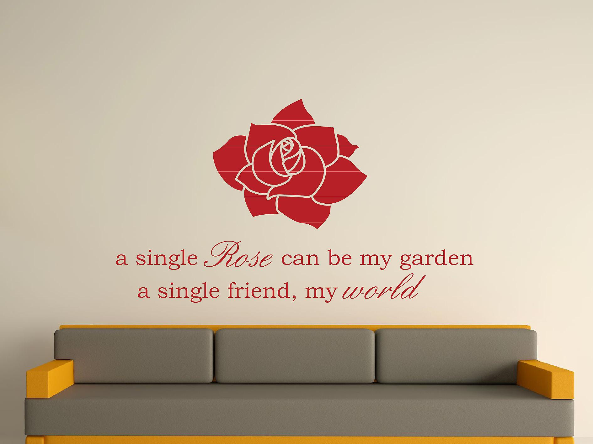 Rose simple Wall Art autocollants - rouge foncé