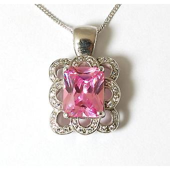 The Olivia Collection 9ct White Gold Pink Cz Pendant on 18 Inch Chain