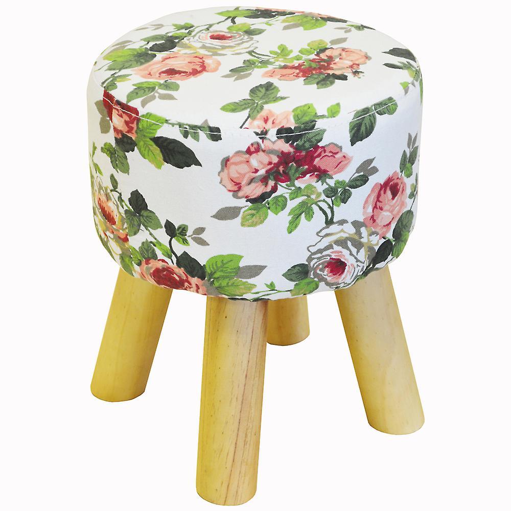À Jambes FloralRose BlancVert Motifs En Bois Avec Tabouret Rembourré DEHYW29I