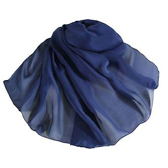 Éternelle Collection Plain bleu marine oblongue Pure soie foulard en mousseline de soie