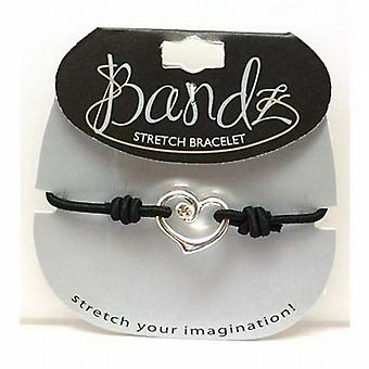 TOC Bandz Glass Set Black Heart Elasticated Bracelet 6